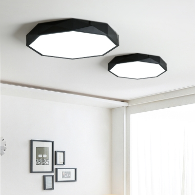 Black Finish Modern Geometrical Lighting LED Octagon Led Ceiling Light 24/36/48W LED Direct Indirect Lighting Suitable for Bedroom Living Room Bathroom Entryway Office