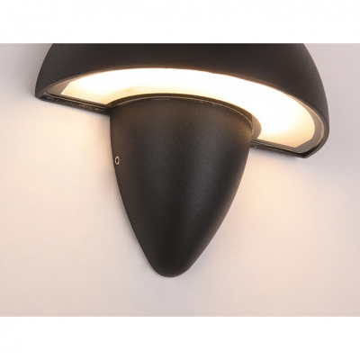 Die-Cast 6W 85lm LED Warm White Light Black Mushroom Shaped Led Wall Sconce Exterior Lighting for Garage Corridor Stairs Villa Porch