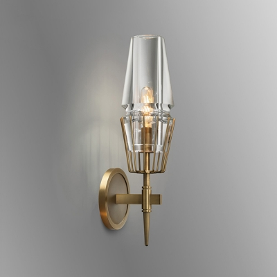 High Bright Aged Brass Wall Sconce Lighting Fixture 15.35 Inch High 1 Light/ 2 Light 5W Clear Glass Wall Lighting Metal Bath Vanity WAC Lighting
