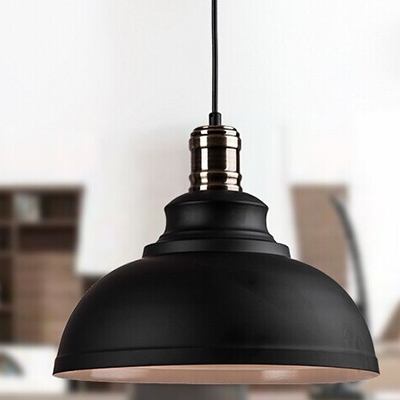 Vintage Style Restaurant Hanging Light with White Inner Finish and Polished Metal Lamp Socket