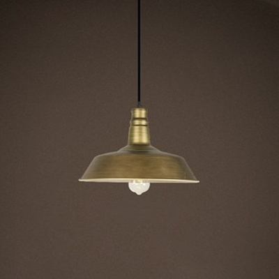 """Industrial Style 1 Bulb Hanging Pendant Light Fixture with Heritage Brass Barn Shade 14.17"""" Wide for Cafeteria, HL486011"""