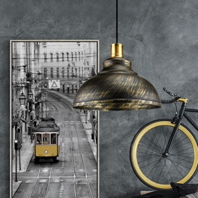 Industrial Style Aged Bronze Dome Shade Pendant Lamp with Gold Lamp Base for Restaurant