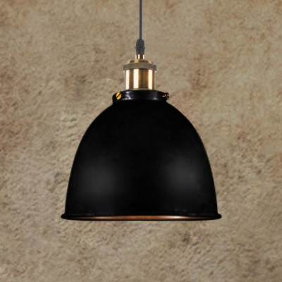 Matte Black/Rust Iron Finish Dome Shade Hanging Pendant Lamp with Burnished Brass Lamp Socket