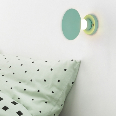 Nordic Macaroon Round Led Wall Lights Metal Decorative Eclipse Led Ambient Wall Sconce with Frosted Glass Shade for Kitchen Kids Room Restaurant Cafe Bar