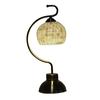 Shabby Chic Handmade Natural Shell Table Lamp in Aged Brass Finish for Study Room Bedroom