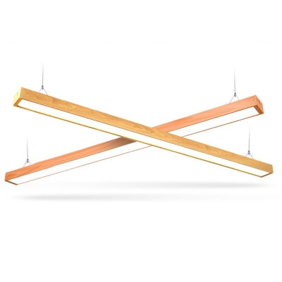 18W Imitation Wood 3000K-6500K Slim Led Linear Pendant Lighting in Wood Grain Aluminum 48