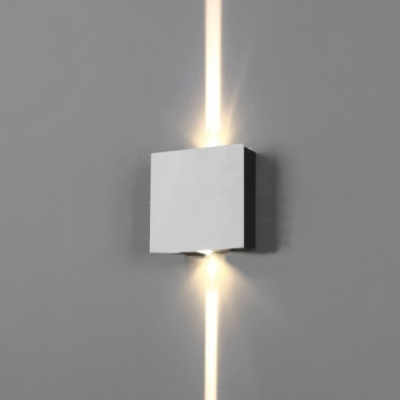 Contemporary Waterproof Silver 1W/2W/4W Led Directional Wall Sconce Square Wall Light for Hallway Gallery Porch 3 Size for Option
