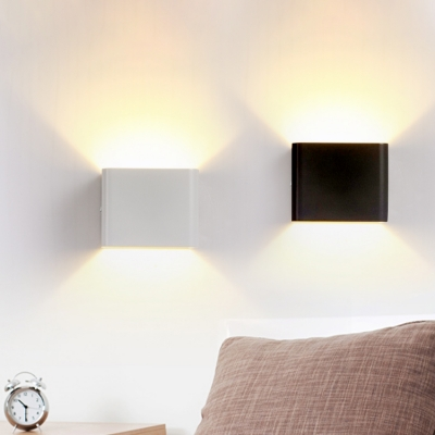 Directional Led Lighting Black/White Square Wall Light 6W Aluminum Cubic  Led Sconce With Warm ...