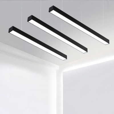 Modern Black Finish Aluminum Led Chandelier Super Slim Linear Fixture Acrylic Lampshade CCT 6000K Led Pendant Office Conference Room Workshop Hallway Lights