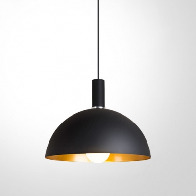 Baycheer / Outer Black Inner Gold Metal Dome Shade Pendant Light for Restaurant in Simple Style