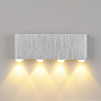 Silver Aluminum Rectangular Wall Sconce 6w8w Low Voltage Lighting