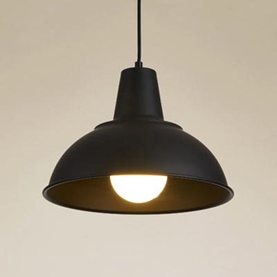 Vintage Style Simple Matte Black/White 1 Light Pendant Light with Metal Dome Shade for Restaurant Dining Room