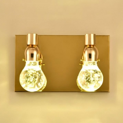 Stainless Steel Single Head/ 2 Head Bubbled Glass Wall Light 5W Polished Gold Bulb Shaped Led Suspenders Wall Light for Bedroom Hotel Porch Restaurant
