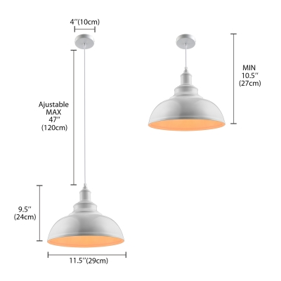 Industrial Dome Pendant Lamp in White Indoor Single Ceiling Pendant for Kitchen Bedroom Farmhouse
