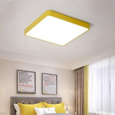 Modern Macaroon Style Yellow/Green Square Led Ceiling Lights 27/36/58W Surface Mount Lighting with Warm White Light in Acrylic Lampshade