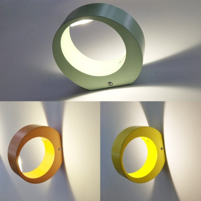 Nordic Style Indoor Wall Light Orange/Yellow/Green 5W Decorative Small Halo Led Wall Sconce Led Up/Down Lighting for Hallway Corridor Porch Front Door