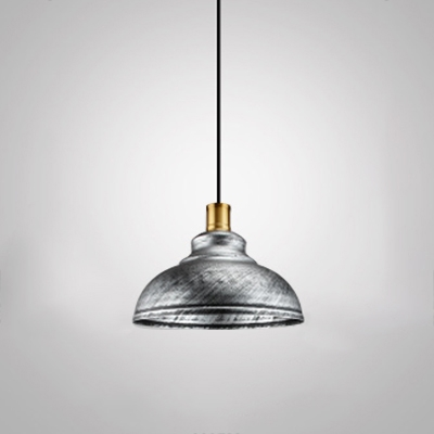 Vintage Industrial Style Antique Silver Downrod Hanging Lamp with Polished Gold Lamp Socket