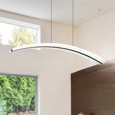 White Acrylic Led Linear Pendant Light 3000k 6000k Modern Style Arched