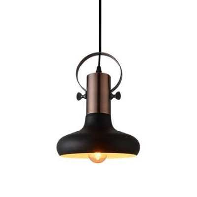 8/10 Inch Wide One Bulb Satin Black Hanging Light with Copper Finish Lamp Socket for Dining Room