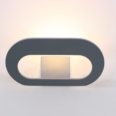 9.84 Inch Long Oval Led Wall Lights Aluminum 9W Modern Led Inward Light Direction Wall Sconce in Black/White/Gray