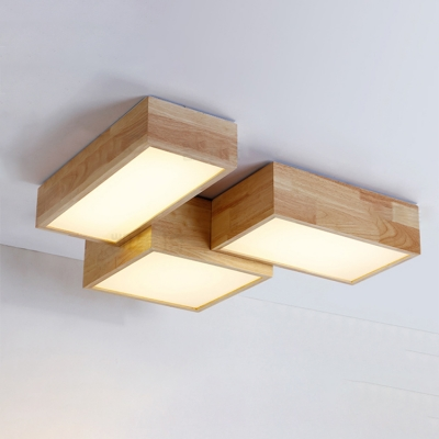 Contemporary Led Rectangular Ceiling Mount Lighting 24 25w Wood Surface Square Lights