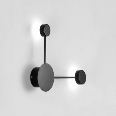 Inward Light Direction Led Post Modern Wall Light Decorative 8W 2-Led Round Wall Lighting in Matte Black/White for Living Room Bedroom Hallway