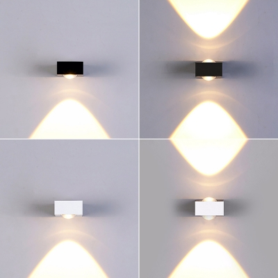 New Decorative Waterproof Modern Led Sconces Up/Down Lighting Single/Two Head Wall Light in Black/Silver for Outdoor Stairs Hallway