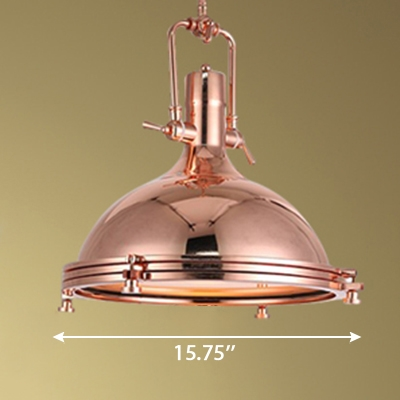 Shiny Copper Finish 15.75 Inch Wide Ceiling Pendant Light with Metal Dome Shade for Restaurant