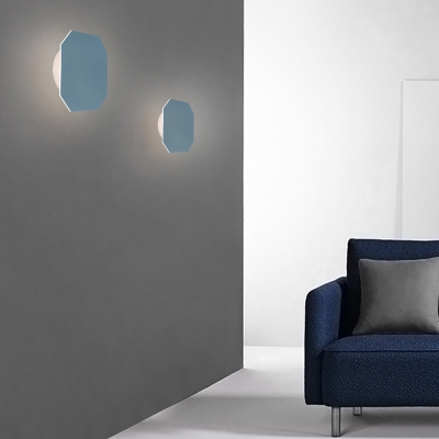 Art Deco Macaroon Style LED Small Wall Light  5W Metal Square Led Sconce for Living Room Gallery Stairways Office Hotel Hallway 4 Colors for Option