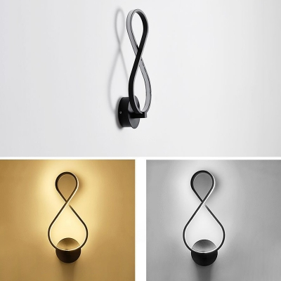 Contemporary Lighting Design Black/White Note Shaped Led Wall Light 18W 15.35