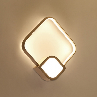 Nordic Simple 10.63 Inch Wide Prism 1-LED Wall Light 18W High Bright Warm Light Acrylic Led Wall Sconce Matte White Finish Led Ambient Sconces for Bedroom Foyer Front Door Restaurant
