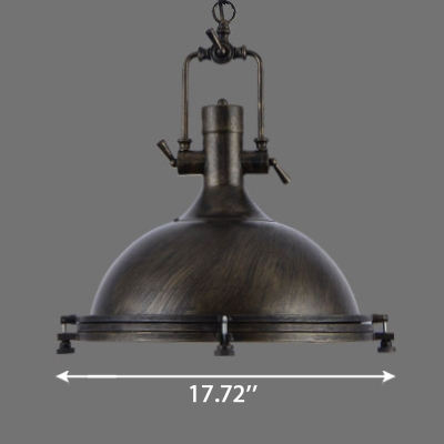 Vintage Industrial Style 18'' Wide Dome Shade Hanging Light Fixture with Water Pipe Handle 3 Colors for Choice