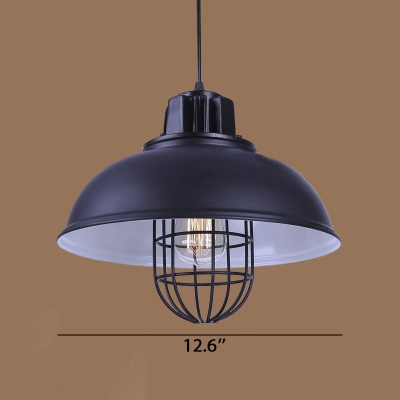 13'' Wide Single Light Bowl Shape LED Pendant Light with Wire Cage in Vintage Style