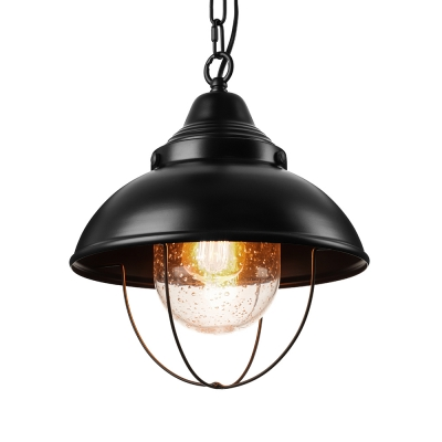 Mini-Pendant Light with Clear Glass in Black