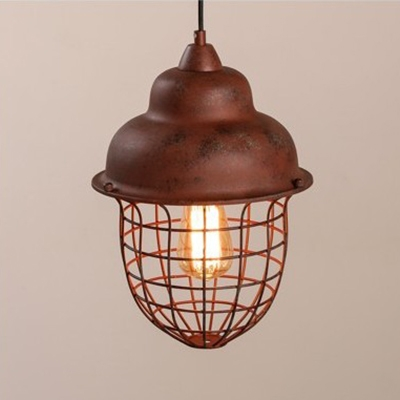 Mottled Rust Iron Finish Wire Guard Restaurant Pendant Light with Hanging Chain 9.84 Inch Wide