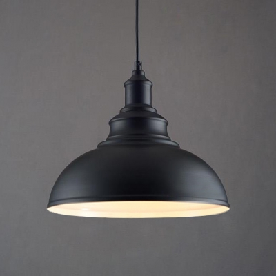 Vintage Black Dome Shade Single Light Pendant Light With