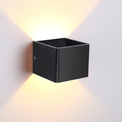 Directional Led Lighting Black/White Square Wall Light 6W Aluminum Cubic Led Sconce with Warm White Light for Bedroom Living Room Stairways Corridor
