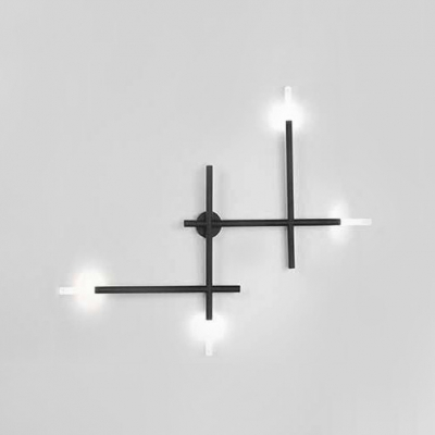 Modern Designer Led Light Black/Gold LED Linear Wall Fixture 20W 4-Light Glass Sticks Wall Sconce with Cold White Warm Light