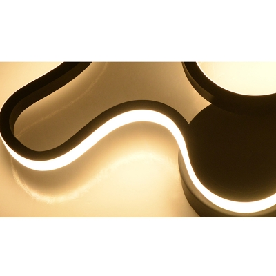 17.72 Inch Wide 30W High Brightness LED Neutral Light Silicone Twist Led Wall Sconce in Black/White for Bedroom Living Room Hallway