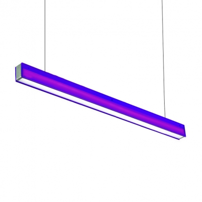 Colorful Chandelier Led Modern Lighting High Bay Lights Linear Led Pendant 14W-28W 46.65in Length Aluminum Led Downlight in Orange/Purple/Blue with 120cm Adjustable Cord