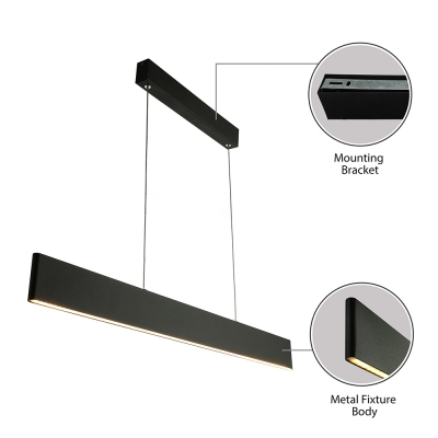 Contemporary Modern Black Finish Acrylic Lampshade Linear Pendant Light 26W-33W Led Direct/Indirect Lighting 35.43