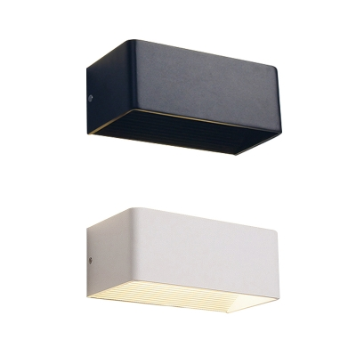 Contemporary Sconce Hardwire Hollow Rectangular Led Wall Light Black/White Low Wattage Aluminum Decorative Wall Sconces for Bedroom Porch Pathway Backyard 3 Size for Option