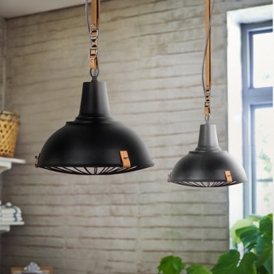 Special Hanging Belt Design Wire Guard Pendant Light in Black Finish 11.81