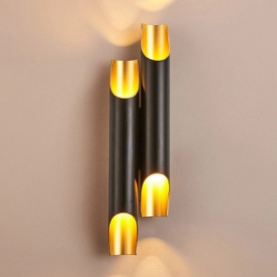 Textured Black/White Post Modern Led Pipe Lamp 18.11 Inch High Aluminum Led Tube Wall Sconce for Bedside Living Room Gallery Porch Bathroom