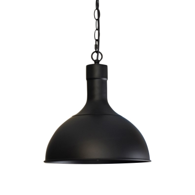 Retro Style Weathered Bronze/Black Metal Dome Shade Hanging Light Fixture with Hanging Chain