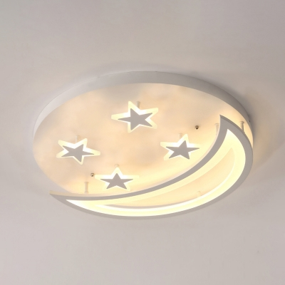 Moon and Star LED Ceiling Light Modern Kids Room Acrylic Flush Mount Light in White/Warm Light, 16
