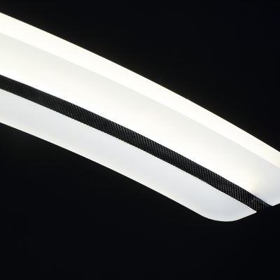 White Acrylic LED Linear Pendant Light 3000K-6000K Modern Style Arched Suspended Lighting for Office Kitchen