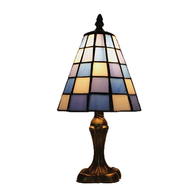 White and Blue Checkered Pattern Glass Shade Table Lamp in Tiffany Style