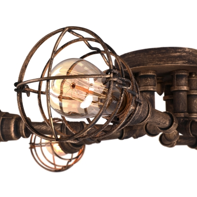 Antique Brass 6 Light Wire Guard LED Semi Flush Ceiling Light
