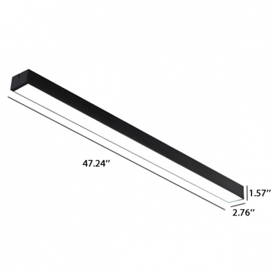 Modern Architectural Linear Fixture Black Finish Led Linear Flush Mount Light 16-20W White Light 6000K LED Down Lighting Mounted Lights for Office Conference Room Hallway Garage